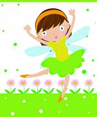 picture of tinkerbell  - Illustration of a cute little flower fairy - JPG