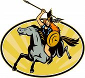 stock photo of valkyrie  - Illustration of valkyrie of Norse mythology female rider warriors riding horse with spear set inside oval with sunburst done in retro style - JPG
