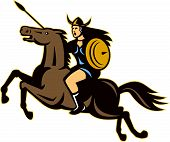 stock photo of valkyrie  - Illustration of valkyrie of Norse mythology female rider warriors riding horse with spear done in retro style - JPG