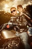 stock photo of biker  - Biker couple - JPG