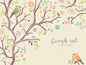 stock photo of tree-flower  - card with birds  - JPG