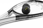 Close up of a black and silver squash racket and balls