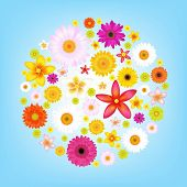 Flowers And Blue Sky With Gradient Mesh, Vector Illustration