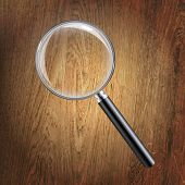 Wooden Background With Magnifying Glass With Gradient Mesh, Vector Illustration