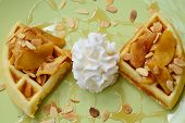 Almonds Waffle With Wipcream And Cyrup