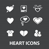 heart, love, wedding, tenderness white isolated icons, signs on black background for design, vector