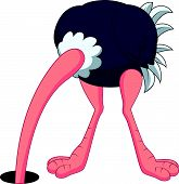 Ostrich cartoon hiding its head in the hole