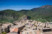 stock photo of sicily  - Panorama of hilltop village Petralia Sottana - JPG
