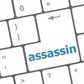 Assassin Word On Computer Pc Keyboard Key, art illustration