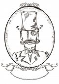 Retro Man Portrait In A Top Black Hat.vector Graphic Illustration