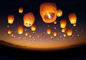 picture of special occasion  - A large group of chinese flying lanterns.