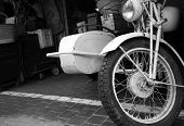 picture of sidecar  - Fragment old vintage motorcycle with sidecar - JPG