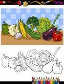 Vegetables Group Illustration For Coloring