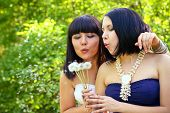 Two Attractive Women Blowing On Dandelions In The Park