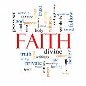 stock photo of divine  - Faith Word Cloud Concept with great terms such as power worshiop spirit divine and more - JPG