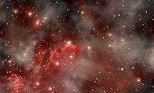 image of cluster  - Red space nebula illustration - JPG