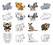stock photo of chimp  - A set of cartoon wild animal illustrations - JPG