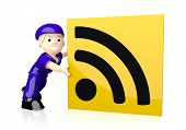 Illustration of a nice wifi icon  on yellow post box