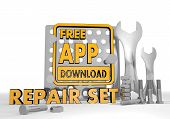 3d render of a isolated free app download pictogram repair set