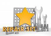 3d render of a mechanical star symbol repair set