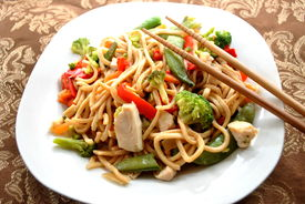 picture of lo mein  - Chicken lo mein in a bowl with chopsticks - JPG