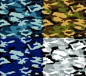 Different Types Vector Camouflage. Selection 1
