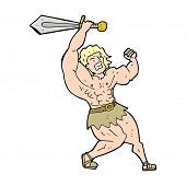 cartoon barbarian hero
