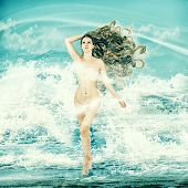 Sexy Fairy Woman - Aphrodite In Sea Waves