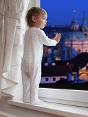 Little boy waiting to Jezisek (local Santa nickname) during The Christmas Eve in The Prague. Czech Republic, Europe.