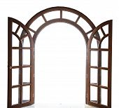 Open Arched Wooden Door On A White Background