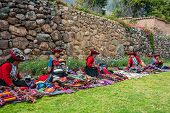 CUZCO, PERU - JULY 15: women selling handcraft in the Peruvian Andes at Cuzco Peru on July 15th, 201