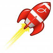 Jesus fish on retro rocket