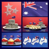 Happy Australia Day, 26. Januar, Collage aus fünf Bilder mit Lamingtons, Fahnen, Fairy Brot, Fleisch-Pi