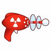 Radiation symbol on retro raygun