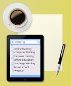 Tablet PC with paper sheet and pen Office desktop Computer Technology concept  and  cup of coffee on