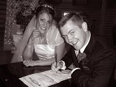 Bride and Groom Signing License