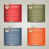 Modern origami colored options background