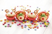 delicious  sweet reindeer cupcakes - sweet food