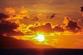 Stunning Beautiful Sunset On An Exotic Beach In Seychelles