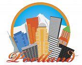 Portland Oregon Abstract Skyline Mt Hood Illustration