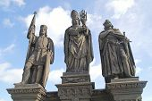 Ancient Sculpture On The Charles Bridge. Prague. St. Wenceslas, Norbert, Sigismund