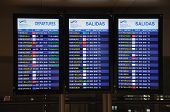 Flight information monitors, Malaga, Spain.