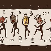 stock photo of primitive  - Dancing figures wearing African masks - JPG