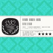 foto of coupon  - Vector card with watercolour circle on tropical blue pattern background - JPG