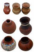 Set Isolated Pots Pottery Handmade In Ukrainian Folk Style