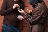 foto of drug dealer  - Students exchanging selected type of drugs for money - JPG