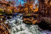 foto of guadalupe  - Beautiful Swift Clear Water with Waterfalls and Fall Foliage Surrounding the Guadalupe River Texas - JPG