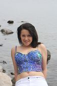 pic of halter-top  - Pretty teenage girl in a halter top - JPG