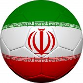 picture of iranian  - 3d soccer ball design with Iranian flag on white background - JPG