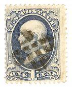 United States Stamp with Ben Franklin Portrait